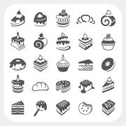 Stock Illustration of cakes and dessert set