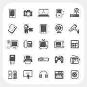 Electronic device icons set Stock Illustration