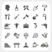 construction icons set - stock illustration