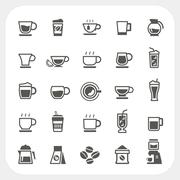 Coffee cup and tea cup icons set Stock Illustration