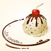 vanilla ice cream with chocolate sauce - stock illustration