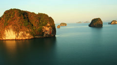 Aerial View: Flight over the tropical coast. Krabi, Southern Thailand Stock Footage