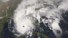 Menacing hurricane seen from space. - stock footage
