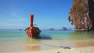Stock Video Footage of Longtail boat at the tropical beach, Andaman sea, Thailand