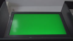 HDTV With A Green Screen, Chroma, Key, Low Angle Shot Stock Footage