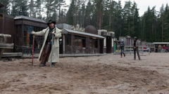 Cowboy explains rules of the game for people on the ranch, Russia Stock Footage