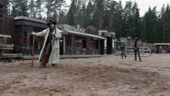 Stock Video Footage of Cowboy explains rules of the game for people on the ranch, Russia