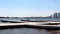 Dock on City Beach Stock Footage