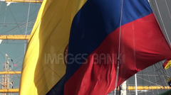 1362  Sailing ship with the flag of Colombia Stock Footage