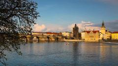Charles Bridge and Novotny Footbridge in Prague Stock Footage