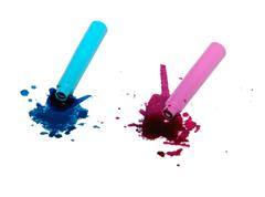 Spilled blue and pink ink spatter - stock photo