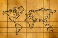 Stock Illustration of World Map Sketch on Old Paper