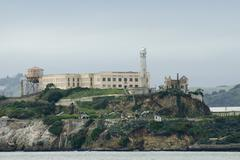 Alcatraz Island prison in San Francisco Bay - stock photo