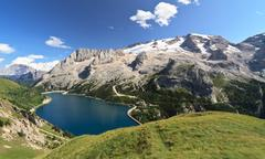 Dolomiti - Fedaia lake and Marmolada mount - stock photo