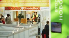 At Moscow property expo at Gostiny Dvor Stock Footage