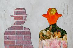Brick man vs flower man. Stock Illustration