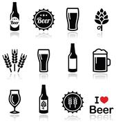 Beer vector icons set - bottle, glass, pint Stock Illustration