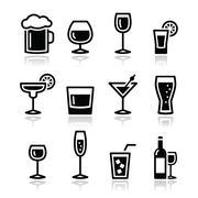 Stock Illustration of Drink alcohol beverage icons set
