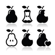 Pear, pear core, bitten, half vector icons Stock Illustration