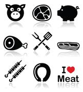 Pig, pork meat - ham and bacon icons set Stock Illustration