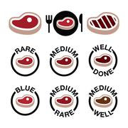 Steak - medium, rare, well done, grilled icons set Stock Illustration