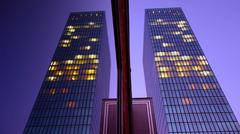 Skyscraper tower at night. modern luxury building. mirror refection Stock Photos