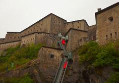 View of spectacular fort of bard, aosta (italy) Stock Photos