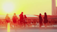 People observing sunset on the viewing platform in Moscow Stock Footage