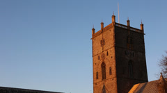 St David's Cathedral at sunset Stock Footage