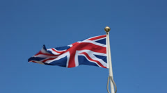 United Kingdom Flag blowing in wind Stock Footage