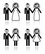 Wedding, married couple, bride and groom icons set Stock Illustration