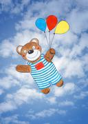 Happy teddy bear, child's drawing, watercolor painting over sky - stock illustration
