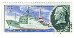 """ussr - circa 1980: a stamp printed in ussr shows image of the ship """"akademik  - stock photo"""