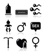 Contraception methods, sex vector icons sex Piirros
