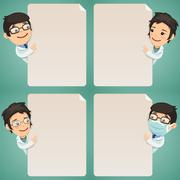 doctors cartoon characters looking at blank poster set - stock illustration