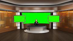 News 002 TV Studio Set - Virtual Green Screen Background PSD PSD Template