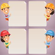 builders cartoon characters looking at blank poster set - stock illustration