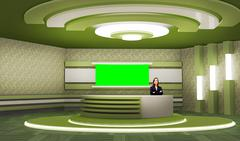 PSD Template of News 006 TV Studio Set - Virtual Green Screen Background PSD
