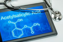 Tablet with the chemical formula of acetylsalicylic acid Stock Illustration