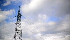 High voltage electric power pylon and lines with time lapse clouds Stock Footage