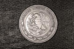 ten mexican peso coin - stock photo