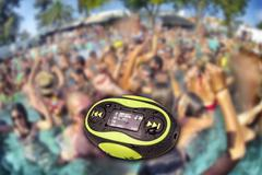 Portable mini mp3 waterproof resistance Stock Photos
