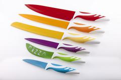 set of 6 swiss knifes with different colors - stock photo