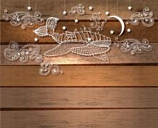Steampunk whale in night sky with stars and moon and beautiful clouds Piirros