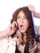 horrified business woman - stock photo