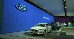 Ford exhibit at the New York International Auto Show Stock Footage