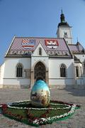 Zagreb - St. Mark Church - stock photo
