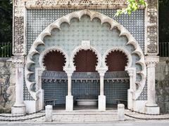 moorish fountain road to pena palace - stock photo