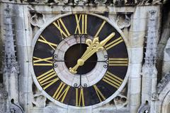 Clock on Zagreb cathedral - stock photo