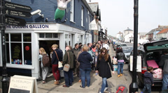 Queuing for Fish and Chips, Aldborough suffolk, Suffolk, England, United KIngdom Stock Footage
